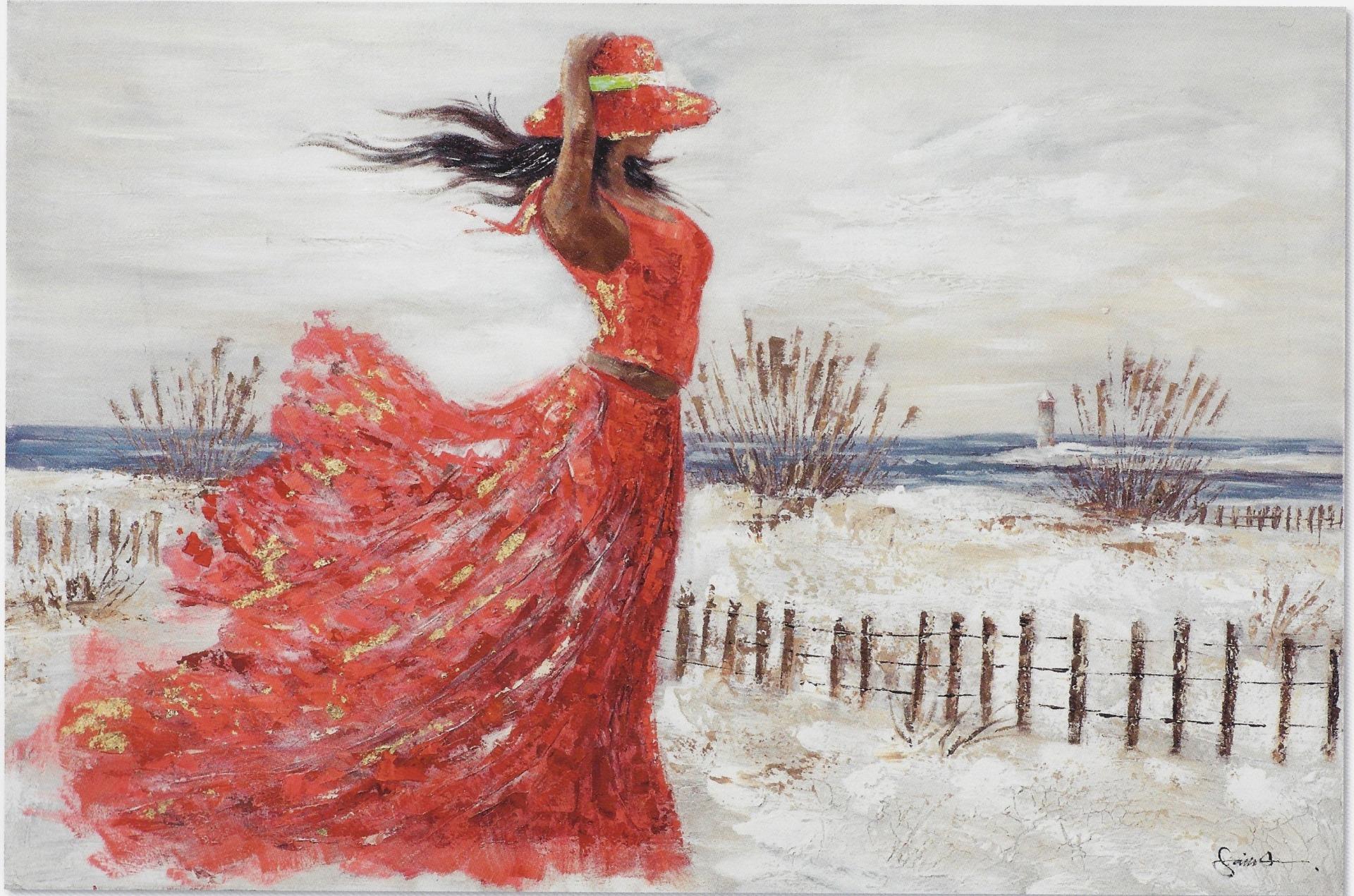 schilderij vrouw aan strand 100x100 | Strand schilderijen